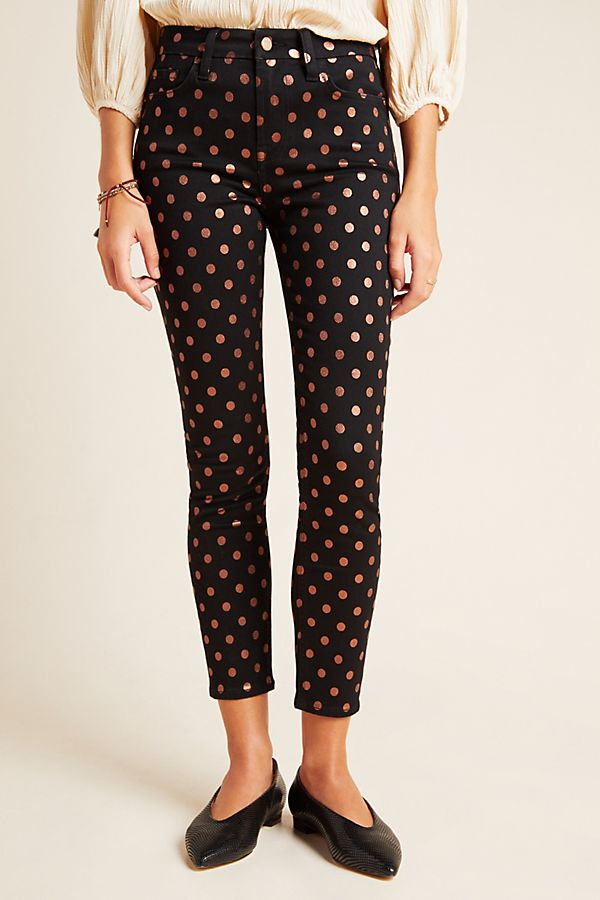 Slide View: 3: Jen7 by 7 For All Mankind Metallic Dot High-Rise Skinny Ankle Jeans