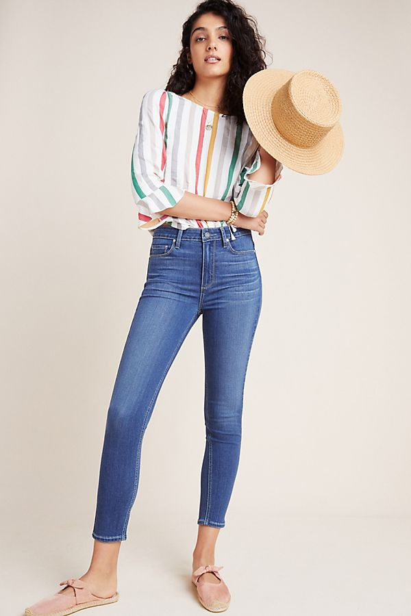 Slide View: 1: Paige Hoxton High-Rise Cropped Skinny Jeans