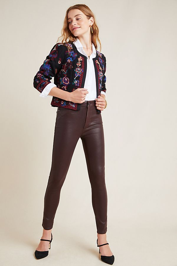 Slide View: 1: Paige Hoxton High-Rise Coated Skinny Jeans