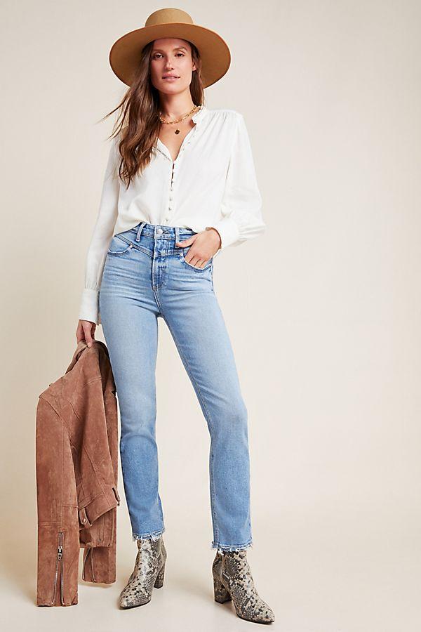 Slide View: 1: Paige Sarah Ultra High-Rise Slim Jeans