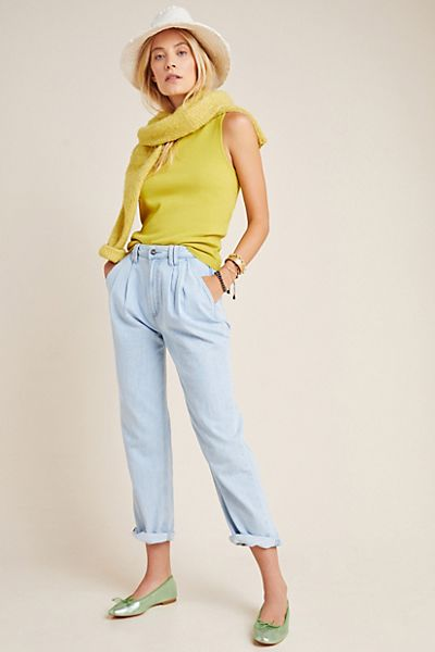 Paige Ultra High-Rise Pleated Trouser Jeans