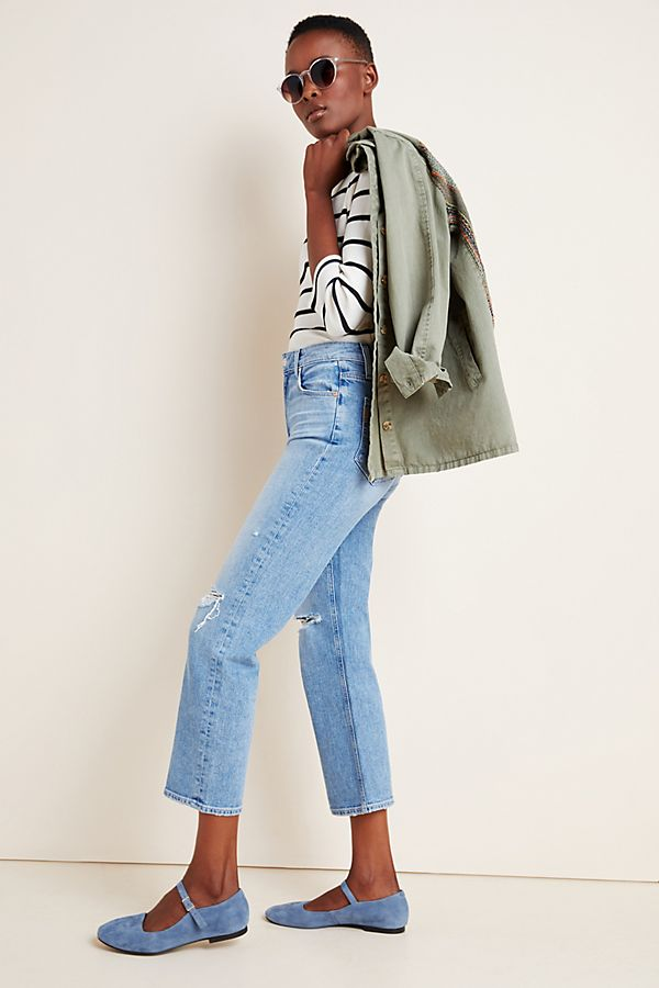 Slide View: 1: Paige Sarah Ultra High-Rise Straight Ankle Jeans