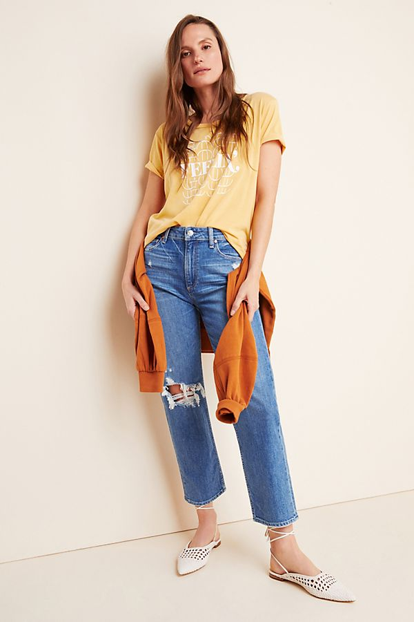 Slide View: 1: Paige Noella Ultra High-Rise Cropped Straight Jeans