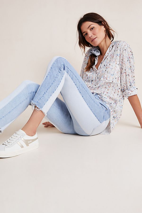 Slide View: 1: Paige Cindy Colorblocked Ultra High-Rise Slim Ankle Jeans