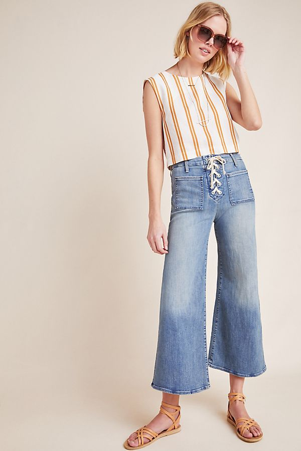 9adac8af85 MOTHER The Lace-Up Roller High-Rise Cropped Flare Jeans | Anthropologie