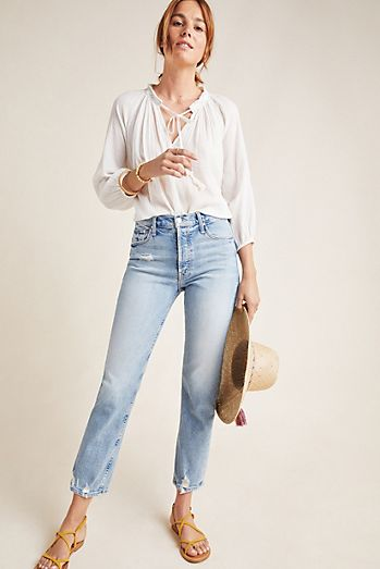 c6aa40973cc46 MOTHER The Tomcat Ultra High-Rise Straight Ankle Jeans