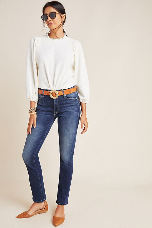 Mother The Dazzler Mid Rise Straight Jeans by Mother