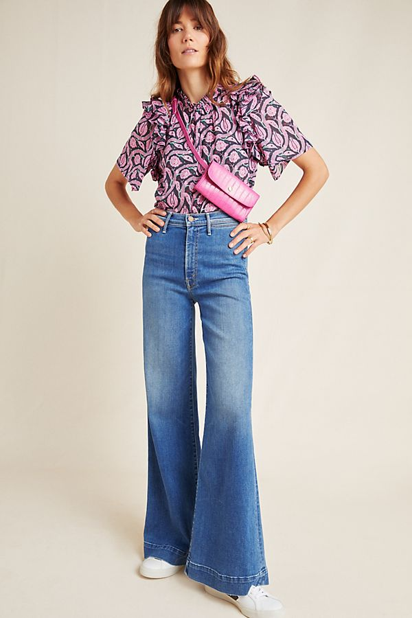 Slide View: 1: MOTHER The Swooner High-Rise Wide-Leg Jeans