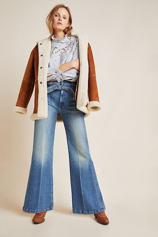 Slide View: 1: MOTHER The Roller Ultra High-Rise Wide-Leg Jeans