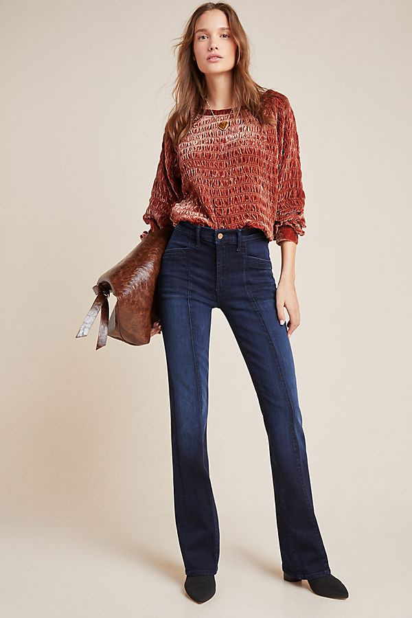 Slide View: 1: MOTHER The Slant Drama High-Rise Seamed Flare Jeans