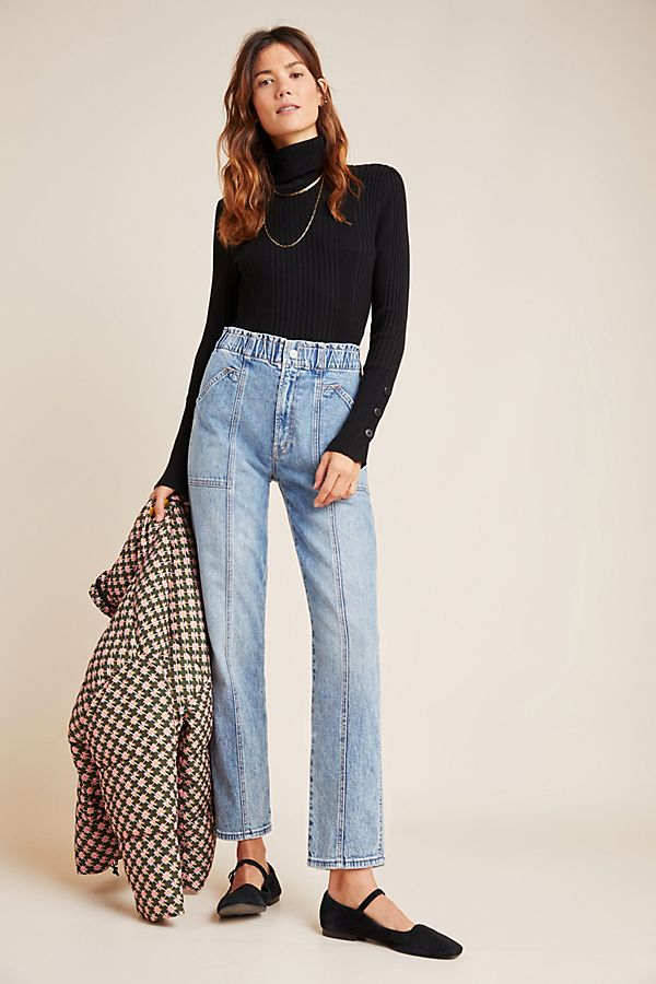 Slide View: 1: MOTHER Springy High-Rise Seamed Straight Jeans