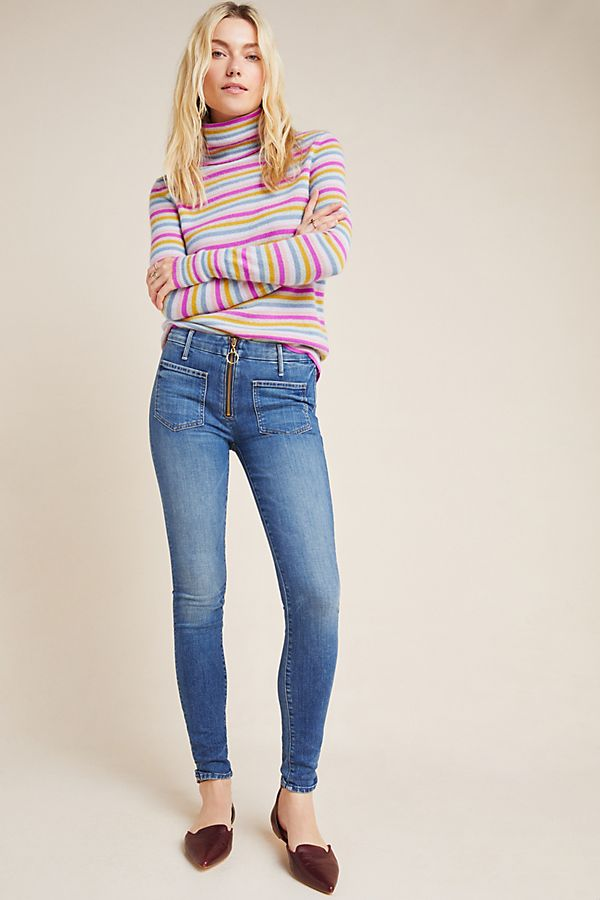 Slide View: 1: MOTHER The Looker Patch XYZ High-Rise Skinny Jeans