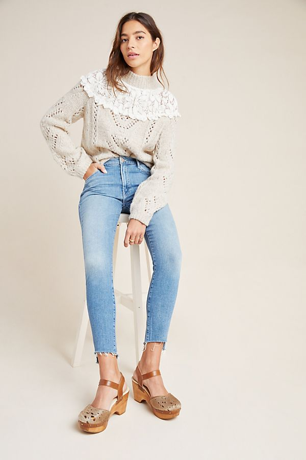 Slide View: 1: MOTHER The Stunner High-Rise Step Fray Skinny Jeans
