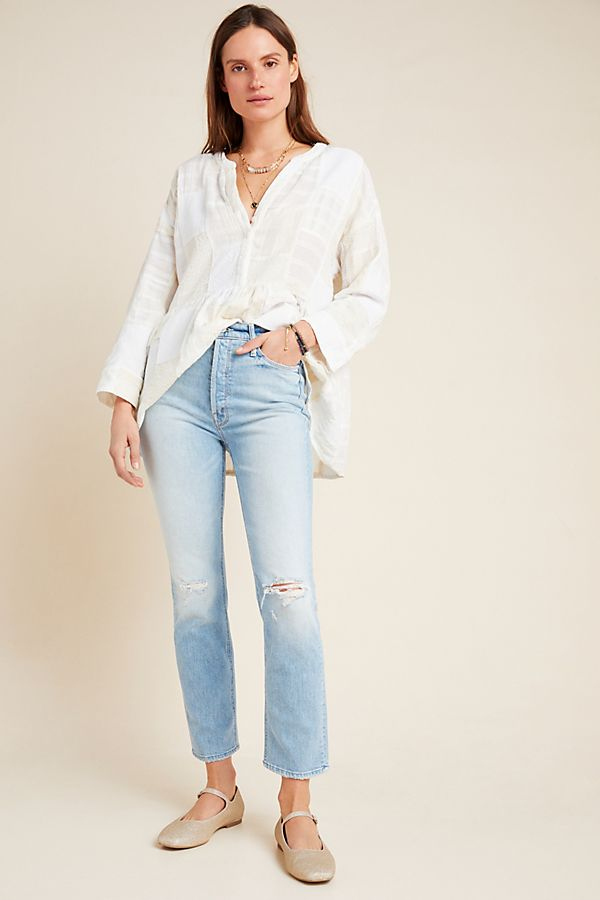 Slide View: 1: MOTHER The Dazzler Ultra High-Rise Straight Jeans