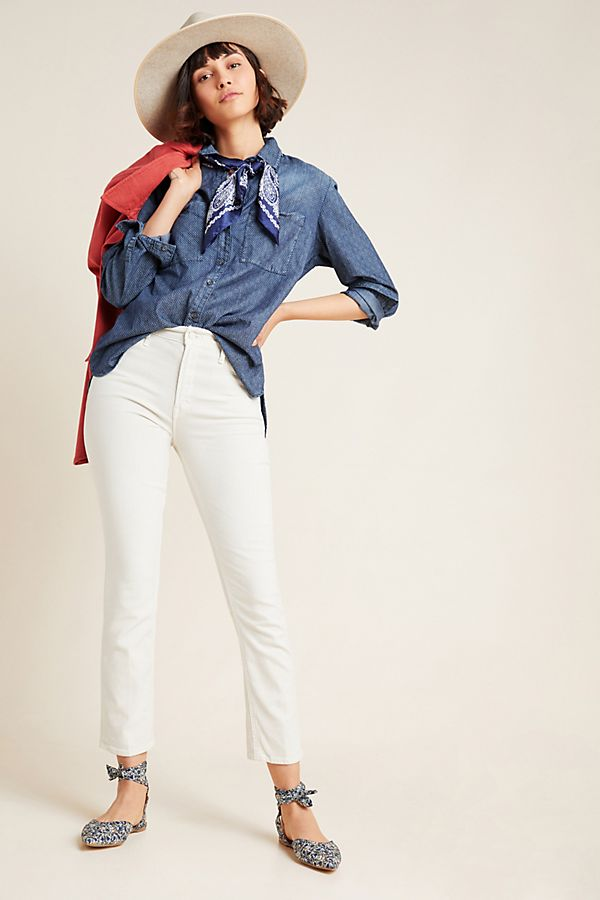 Slide View: 1: MOTHER The Dazzler High-Rise Straight Jeans