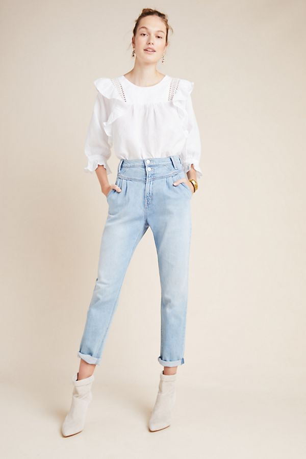 Slide View: 1: MOTHER The Pleated Ultra High-Rise Straight Jeans
