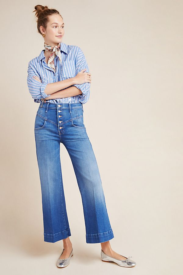 Slide View: 1: MOTHER The Swooner Ultra High-Rise Cropped Wide-Leg Jeans