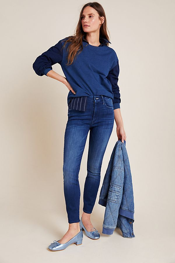 Slide View: 1: MOTHER The Looker High-Rise Skinny Ankle Jeans