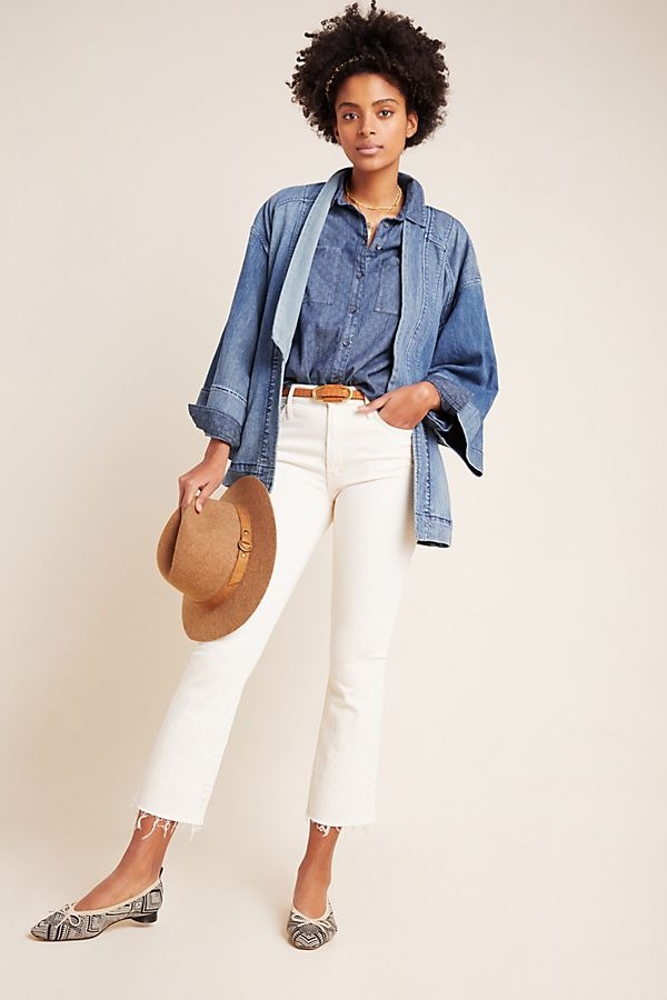 Slide View: 1: MOTHER The Insider High-Rise Frayed Bootcut Jeans
