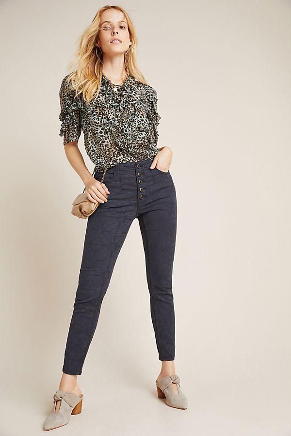 Slide View: 1: Pilcro High-Rise Jacquard Skinny Jeans