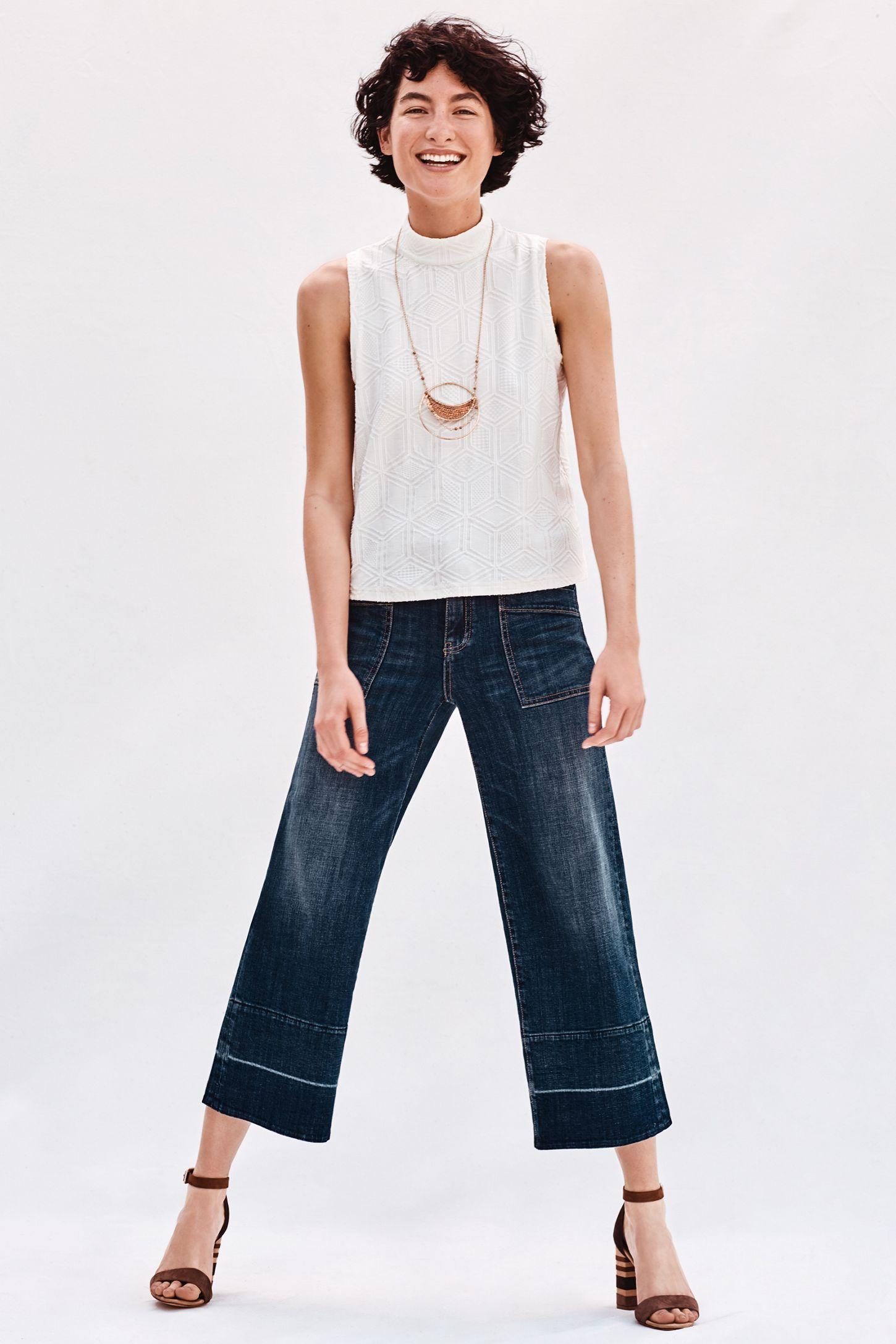 130ce0d85c8 Pilcro Mid-Rise Wide-Leg Crop Jeans