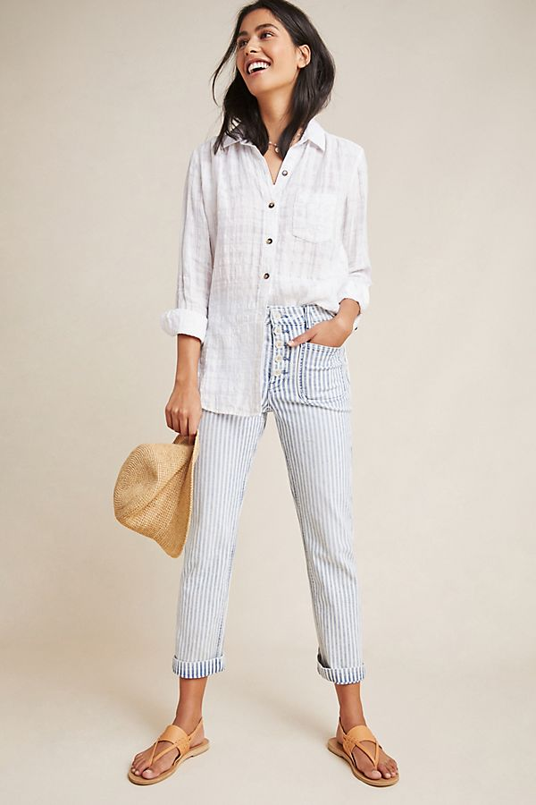 Slide View: 1: Pilcro High-Rise Railroad-Striped Jeans