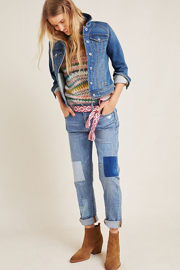 Slide View: 1: Pilcro Patchwork Slim Boyfriend Jeans