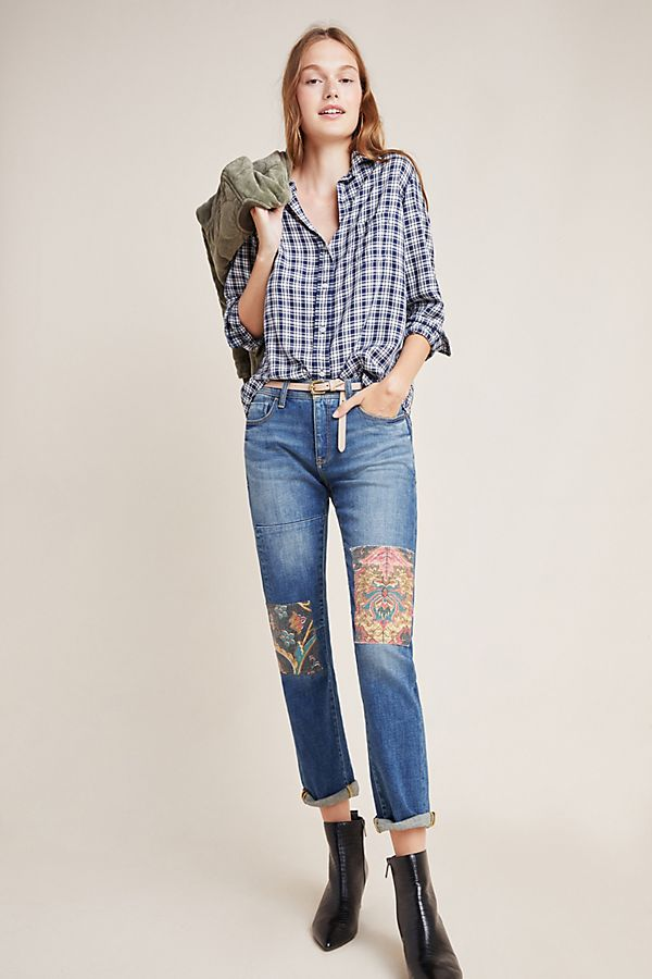 Slide View: 1: Pilcro Tapestry Mid-Rise Boyfriend Jeans