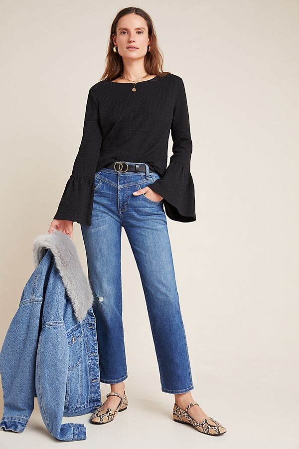 Slide View: 1: Pilcro Ultra High-Rise Seamed Straight Jeans