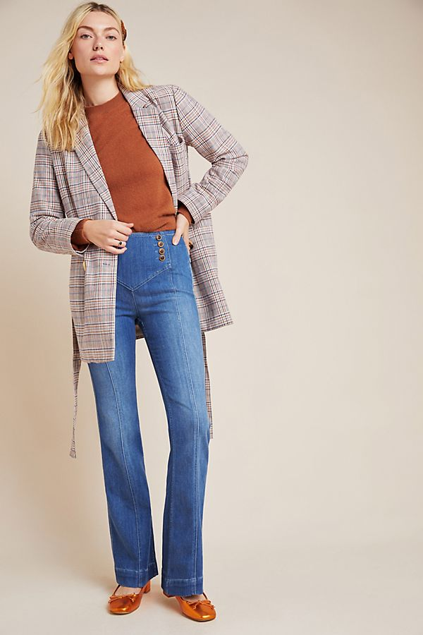 Slide View: 1: Pilcro High-Rise Seamed Bootcut Jeans
