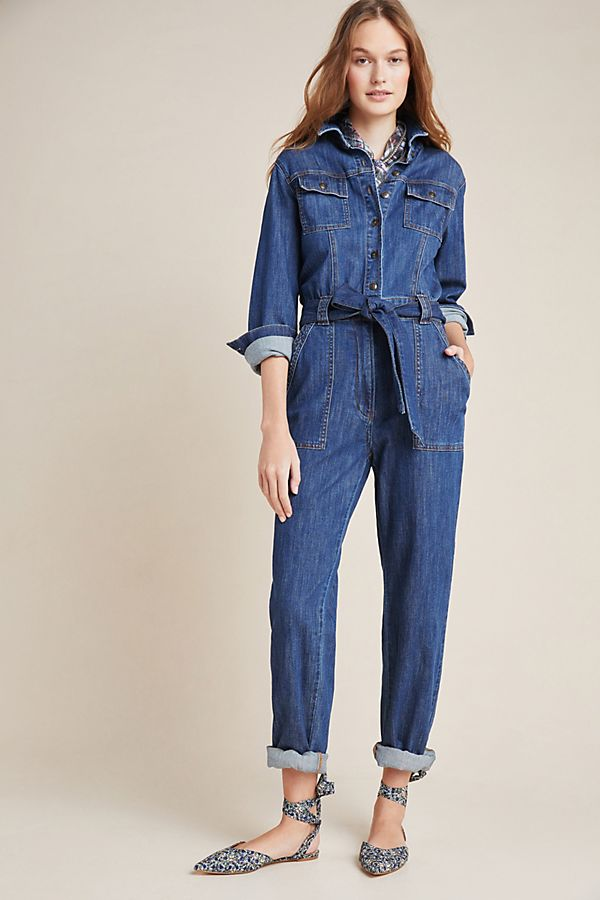 Slide View: 1: Flynn Utility Denim Jumpsuit