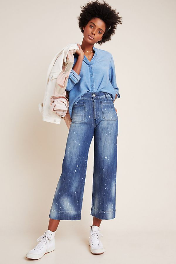 Slide View: 1: Pilcro Ultra High-Rise Cropped Wide-Leg Jeans