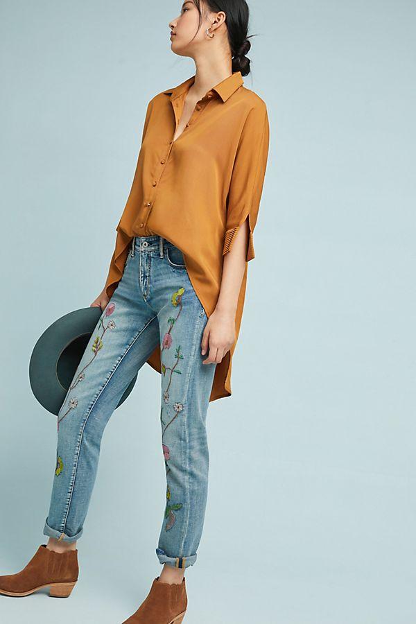 3092e0bfb63 Pilcro Floral Embroidered Mid-Rise Slim Boyfriend Jeans