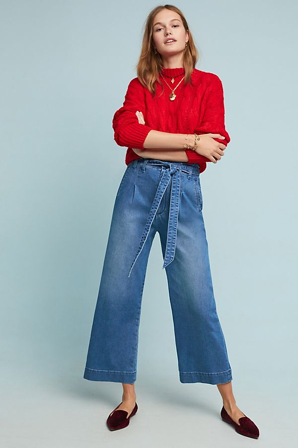 3c8e2c40f55f Pilcro Ultra High-Rise Belted Wide-Leg Jeans