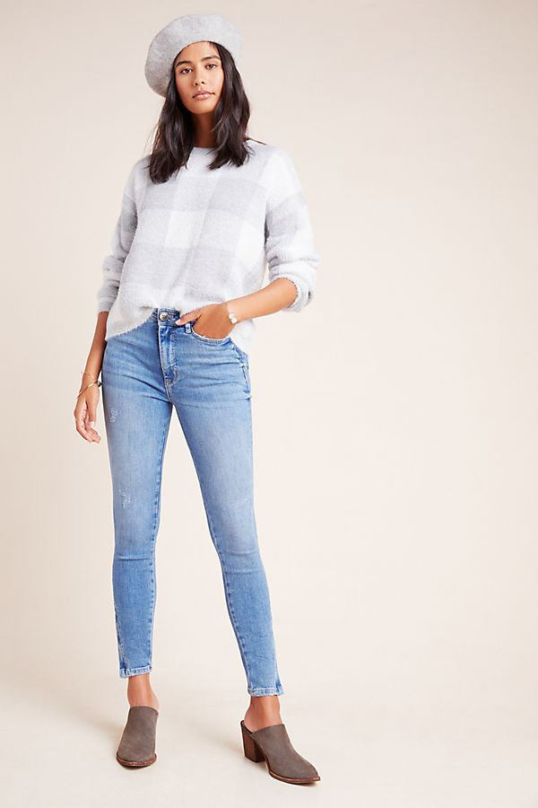 Slide View: 1: Pilcro High-Rise Ankle Zip Skinny Jeans