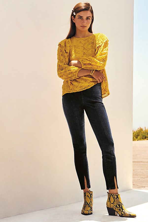 Slide View: 1: Pilcro Slit-Front Skinny Jeans