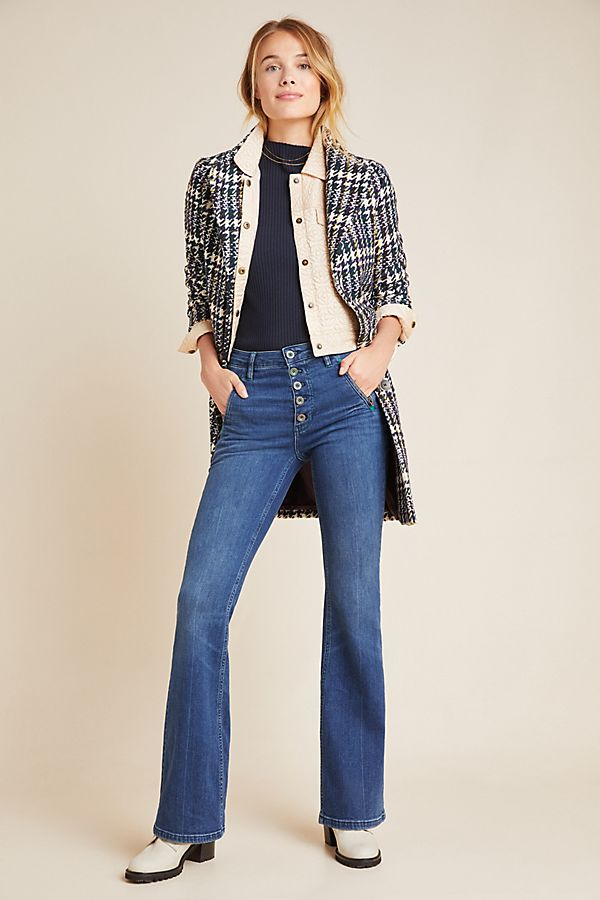 Slide View: 1: Pilcro Button-Fly High-Rise Bootcut Jeans