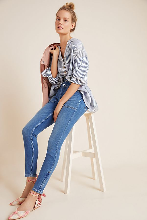 Slide View: 1: Pilcro Ultra High-Rise Seamed Skinny Jeans