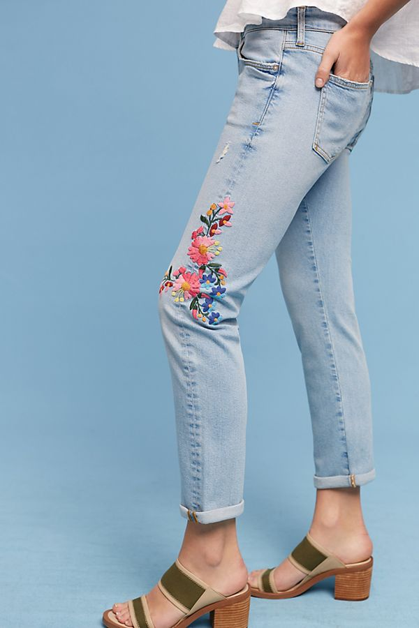 Pilcro Floral Embroidered Mid Rise Ankle Jeans