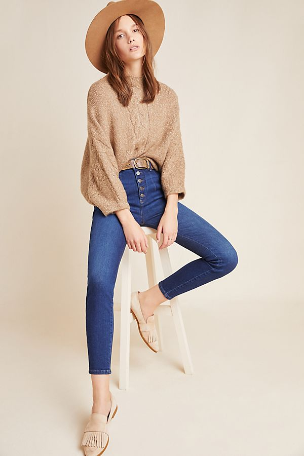 Slide View: 1: Pilcro Ultra High-Rise Button-Fly Skinny Jeans