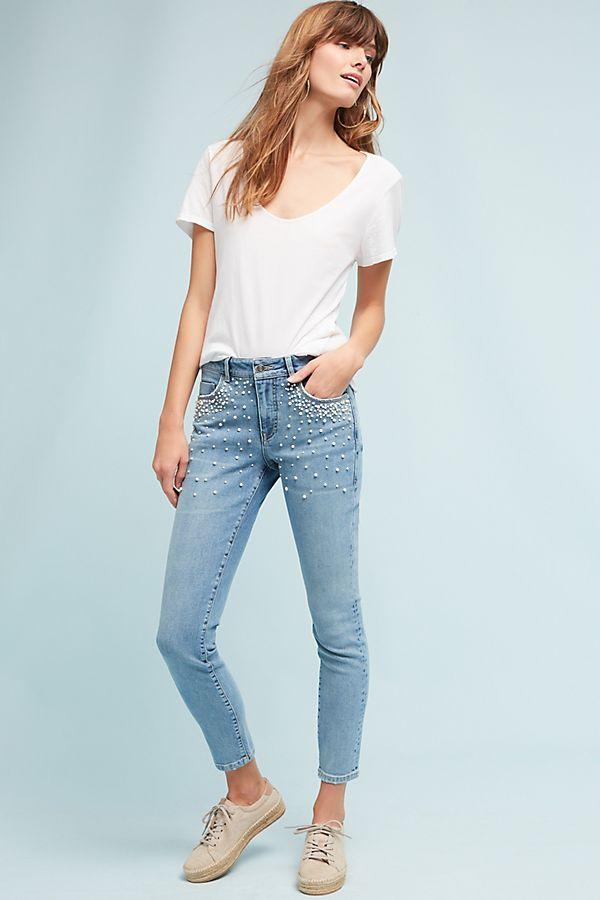 6d5516d0384aba Pilcro Script High-Rise Pearl Skinny Jeans | Anthropologie UK