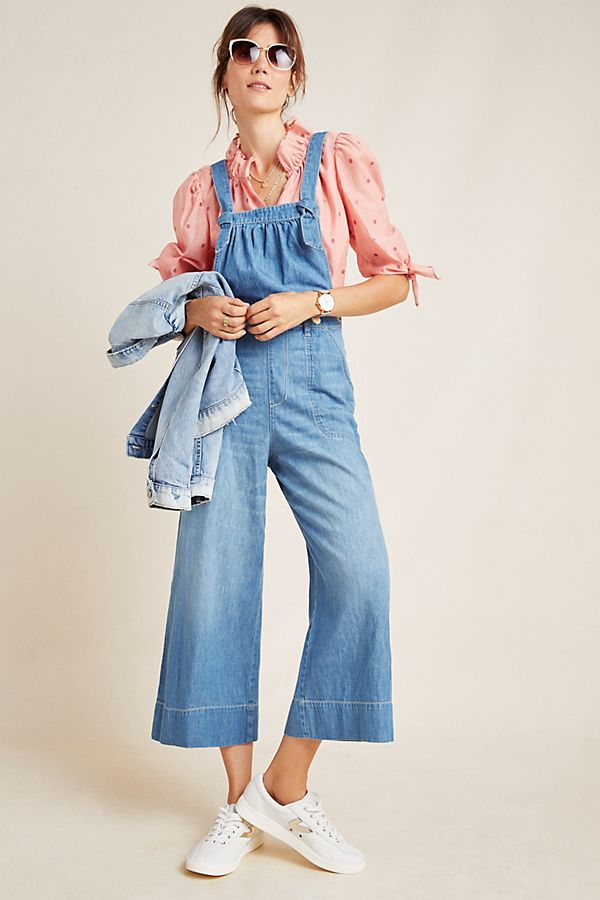 Slide View: 1: Pilcro Wide-Leg Denim Jumpsuit