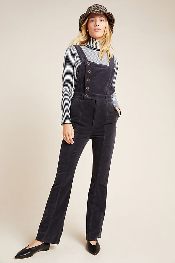 Slide View: 1: Pilcro Button-Front Corduroy Overalls