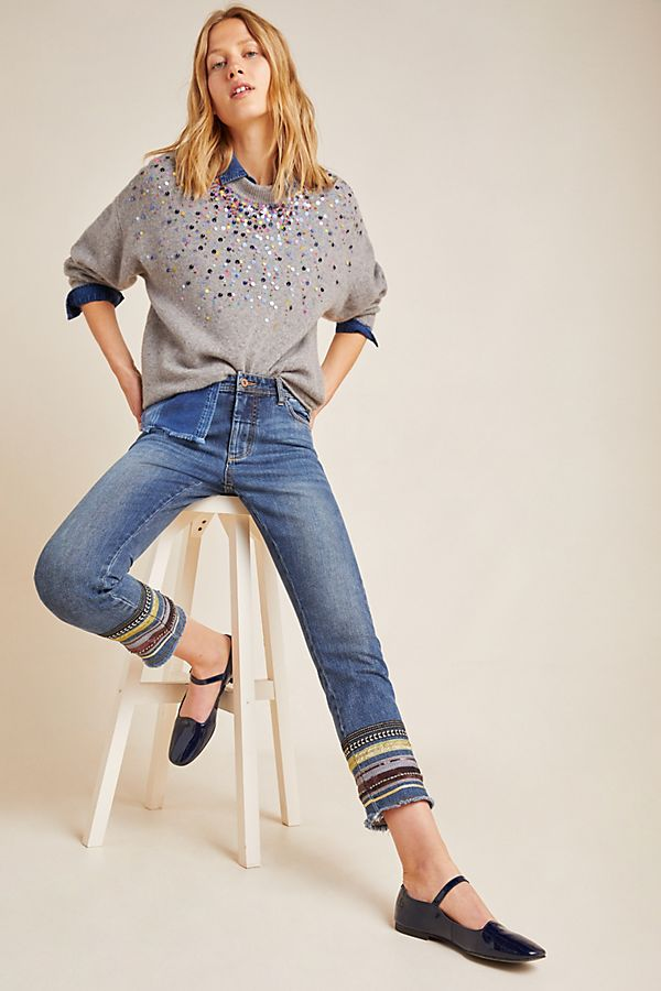 Slide View: 1: Pilcro High-Rise Embroidered Slim Straight Jeans