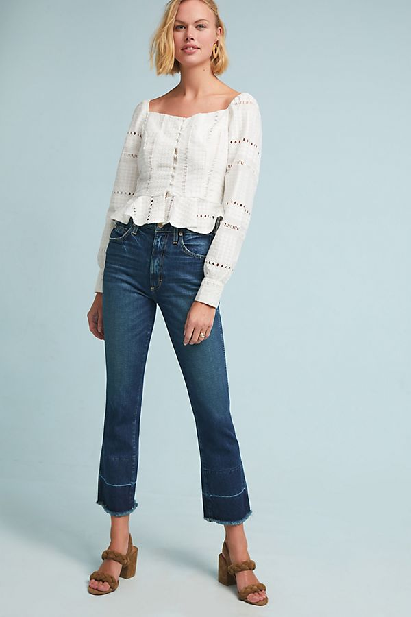 Slide View: 1: AMO Bella High-Rise Flare Jeans