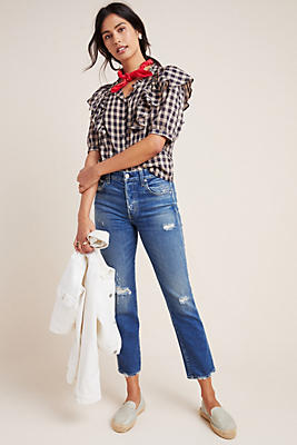 Slide View: 1: AMO Babe High-Rise Straight Jeans