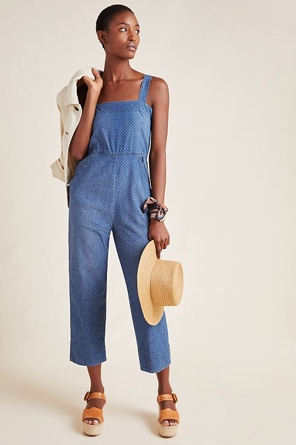 Slide View: 1: AMO Indigo Dot Jumpsuit