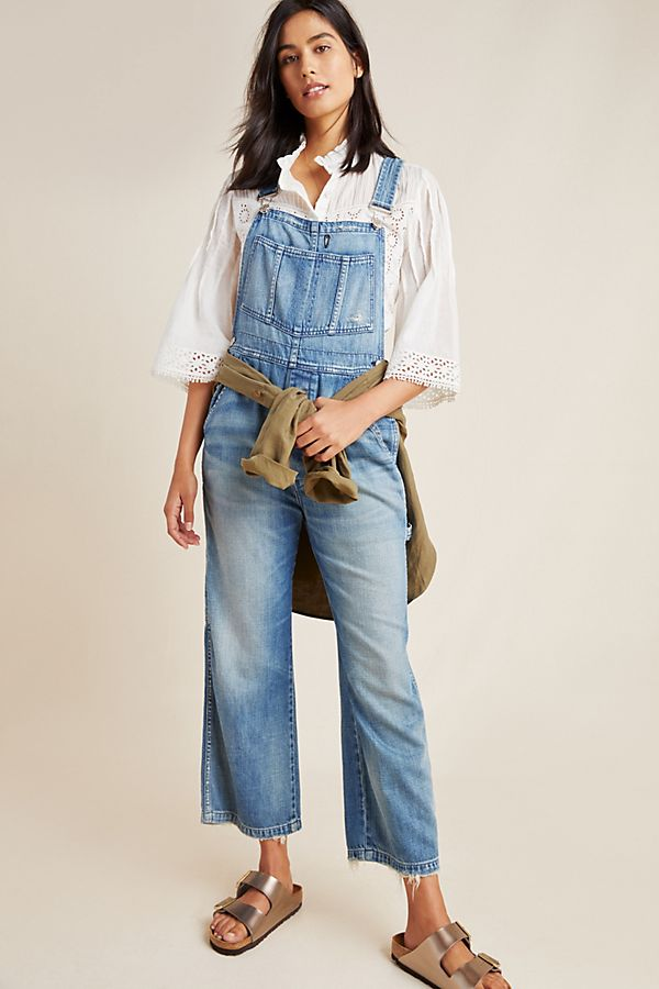 Slide View: 1: AMO Ally Cropped Denim Overalls