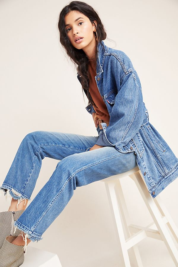 Slide View: 1: AMO Layla Ultra High-Rise Straight Ankle Jeans