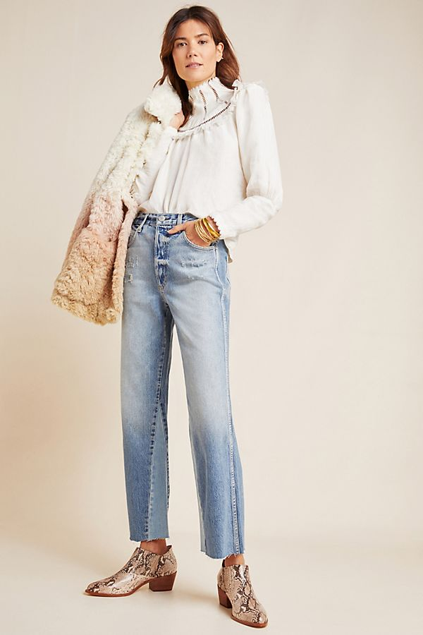 Slide View: 1: AMO Patchwork Ultra High-Rise Wide-Leg Jeans